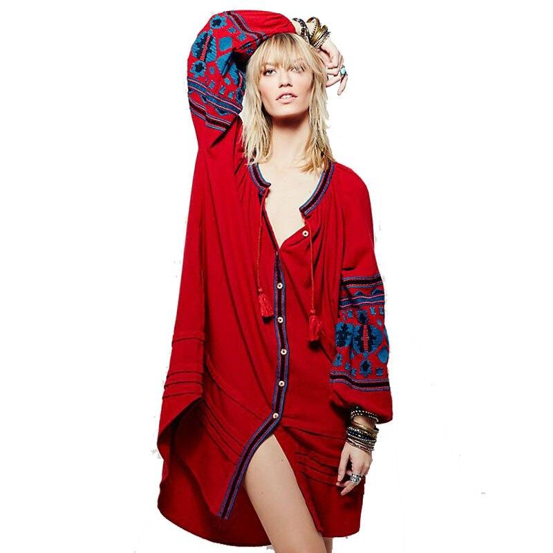 Boho ethnique femmes lâche robes à manches longues à bretelles gland col en V broderie rouge Vestido Vintage blanc dames bohème robe