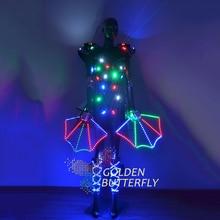 Illuminated Clothing LDE Luminous Dresses Suits Glowing Light Costumes Women Ballroom Dance Dress Performance Dress Accessories