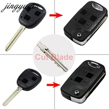 jingyuqin Cut Blade 2/3 Buttons Flip Key Fob Case for Toyota Camry RAV4 Corolla Prado Yaris Include Cutting Blank Dropship
