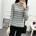 White Striped Women Sweaters  Pullovers 2017 Autumn Winter O-Neck Long Sleeve Knitted Sweater Casual Women Sweaters One size