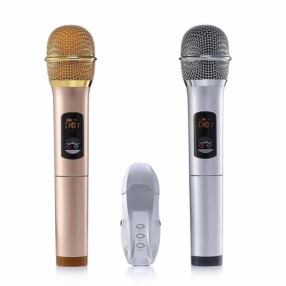 Leegoal K18u 2 pz UHF Microfono Senza Fili Bluetooth 3.0 karaoke Microfono per iOS Android Smartphone Computer Per La Riunione di Classe Discorso