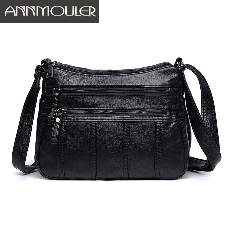 Annmouler Fashion Women Crossbody Bag Black Soft Washed Leather Shoulder Bag Patchwork Messenger Bag Small Flap Bag For Girls