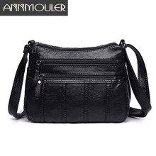 Annmouler модная женская сумка через плечо Черная мягкая моющаяся кожаная сумка на плечо Лоскутная сумка-мессенджер маленькая сумка с клапаном для девочек