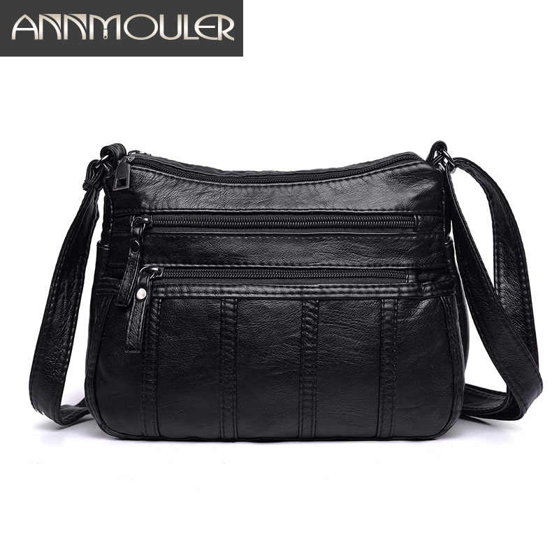 Annmouler Fashion Women Crossbody Bag Black Soft Washed Leather Shoulder Bag Patchwork Messenger Bag Small Flap Bag for Girls