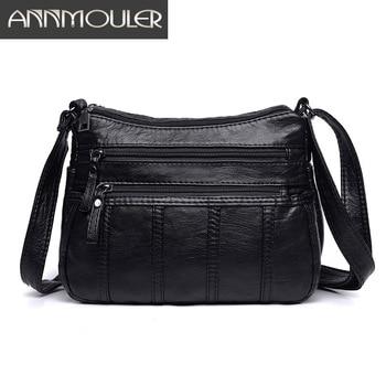 817527e860b4 Annmouler модная женская сумка через плечо Черная мягкая моющаяся кожаная  сумка через плечо Лоскутная сумка-мессенджер маленькая сумка с клапа.