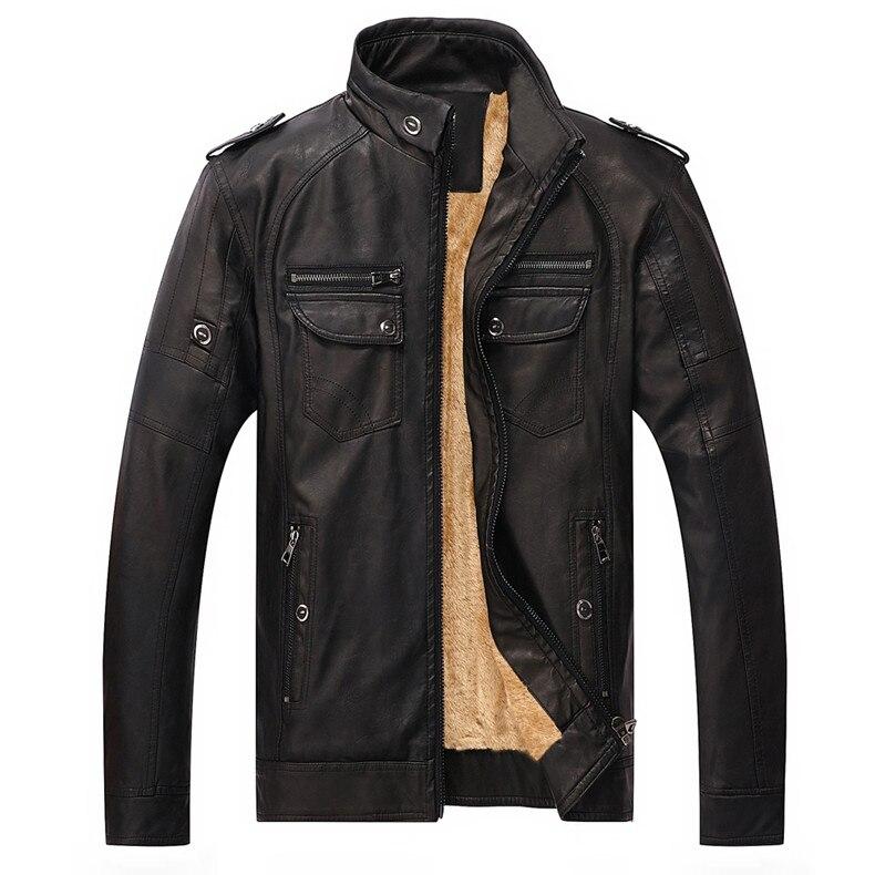 Хит, высокое качество, модная мужская повседневная кожаная куртка плюс бархатная куртка, мужское теплое пальто, пальто - Цвет: black
