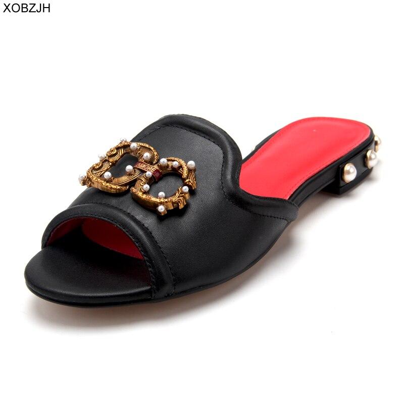 Women Shoes Summer Flat luxury Sandals 2019 Brand Designer G Sandals Black Ladies Genuine Leather Sandals Slippers Shoes Woman-in Women's Sandals from Shoes