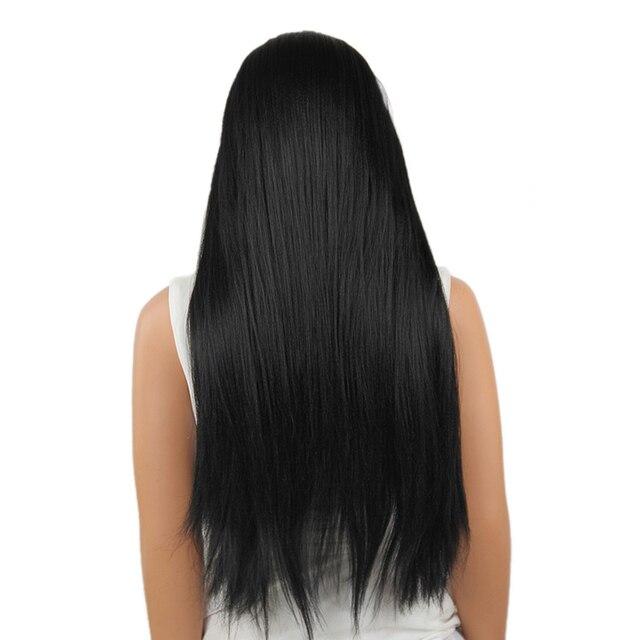 Élément Kanekalon Synthétique Cheveux 28 Pouce Longue Perruque Avant de Lacet Yaki Droite 1B Noir Perruque pour les Femmes Afro-américaines Livraison gratuite 1