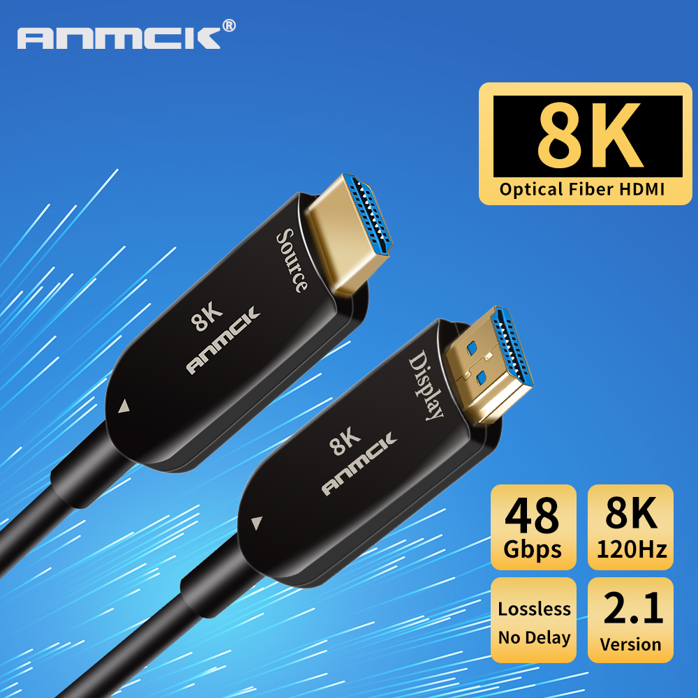 Anmck 8K HDMI Cable 2 1 Optical Fiber Cable Gold Plated 120Hz 48Gbps 3M 5M 10M