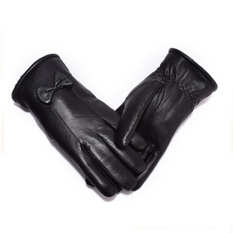 Kvinnors läderhandskar för vinter äkta pälsfoder Guantes Mujer - Kläder tillbehör - Foto 3