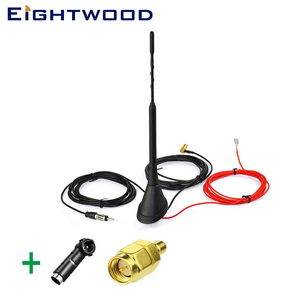 Eightwood Auto Car Radio DAB Antenna Amplified Roof Mount AM FM Aerial ISO to DIN Adapter