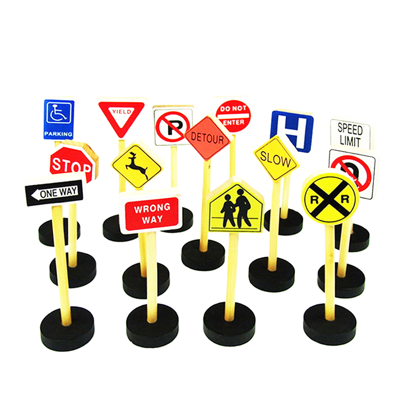 High Quality Toy For Children Teaching Aids Wooden Educational Toy 15 Traffic Signs Children Knowledge Game Blocks Birthday Gift