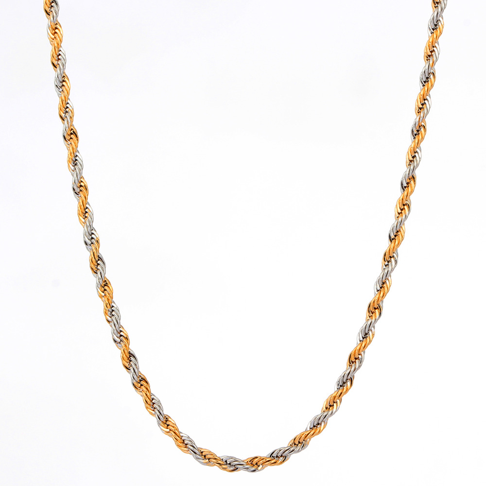 yellow and white mixed gold color twist rope chain long