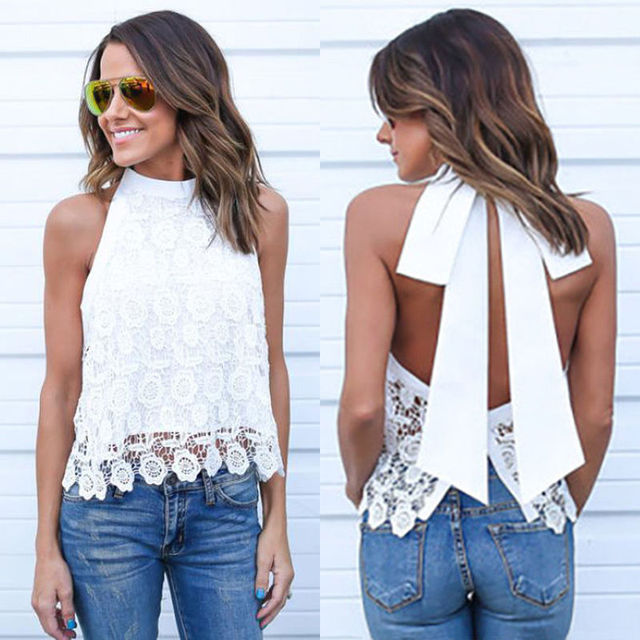 dff1892b53b287 Women Sexy Ladies Off Shoulder Halter Backless Tassel Vest Summer Loose  Casual Lace Floral Solid Sleeveless Vest Tank Tops