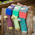 Hot Sale 2017 Knee-High new fashion sock green striped lace cotton women socks perfect elastic Free Shipping