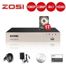 ZOSI 2.0MP 4CH מלא 1080P בחדות גבוהה היברידי 4 in 1 HD TVI DVR וידאו מקליט עבור אבטחת CCTV המצלמה מערכת שיא
