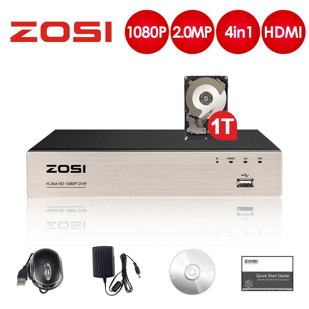 ZOSI 2.0MP 4CH Full 1080P haute définition hybride 4-en-1 HD TVI DVR enregistreur vidéo pour enregistrement de système de caméra de sécurité CCTV