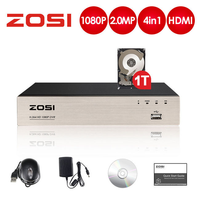 ZOSI 2.0MP 4CH Full 1080P High Definition Hybrid 4 in 1 HD TVI DVR Video Recorder for CCTV Security Camera System Record