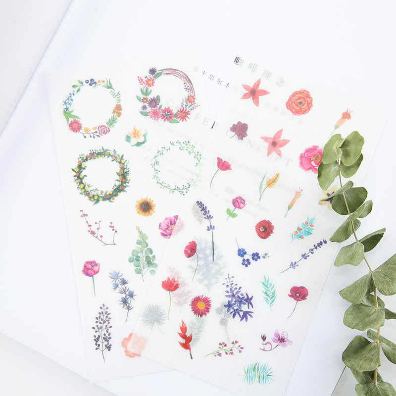 6 pcs/pack Watercolor World Decorative Stickers Adhesive Stickers DIY Decoration Diary Stationery Stickers Children Gift