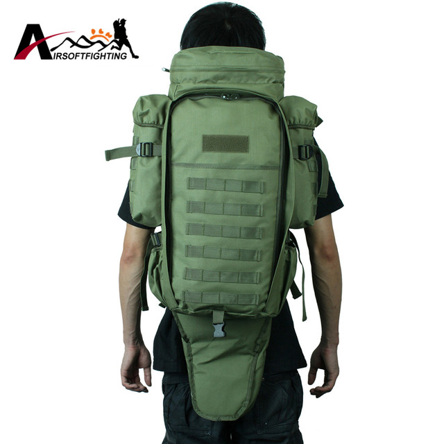 5fd66ded69c6 Tactical Molle System Extended Full Gear Dual Rifle Backpack Military  Paintball Hunting Camping Gun Bag Case