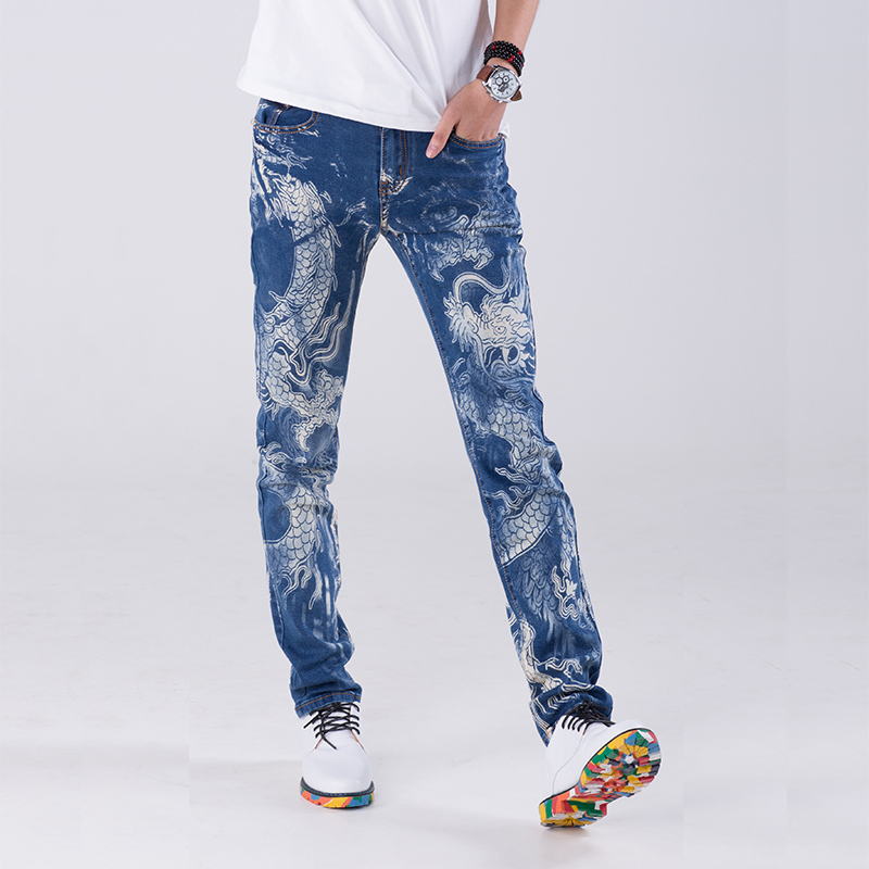 2017 Men new Fashion slim casual Personality Chinese dragon printing jeans Printed pants male Plus size singer costumes 28-38 welder machine plasma cutter welder mask for welder machine