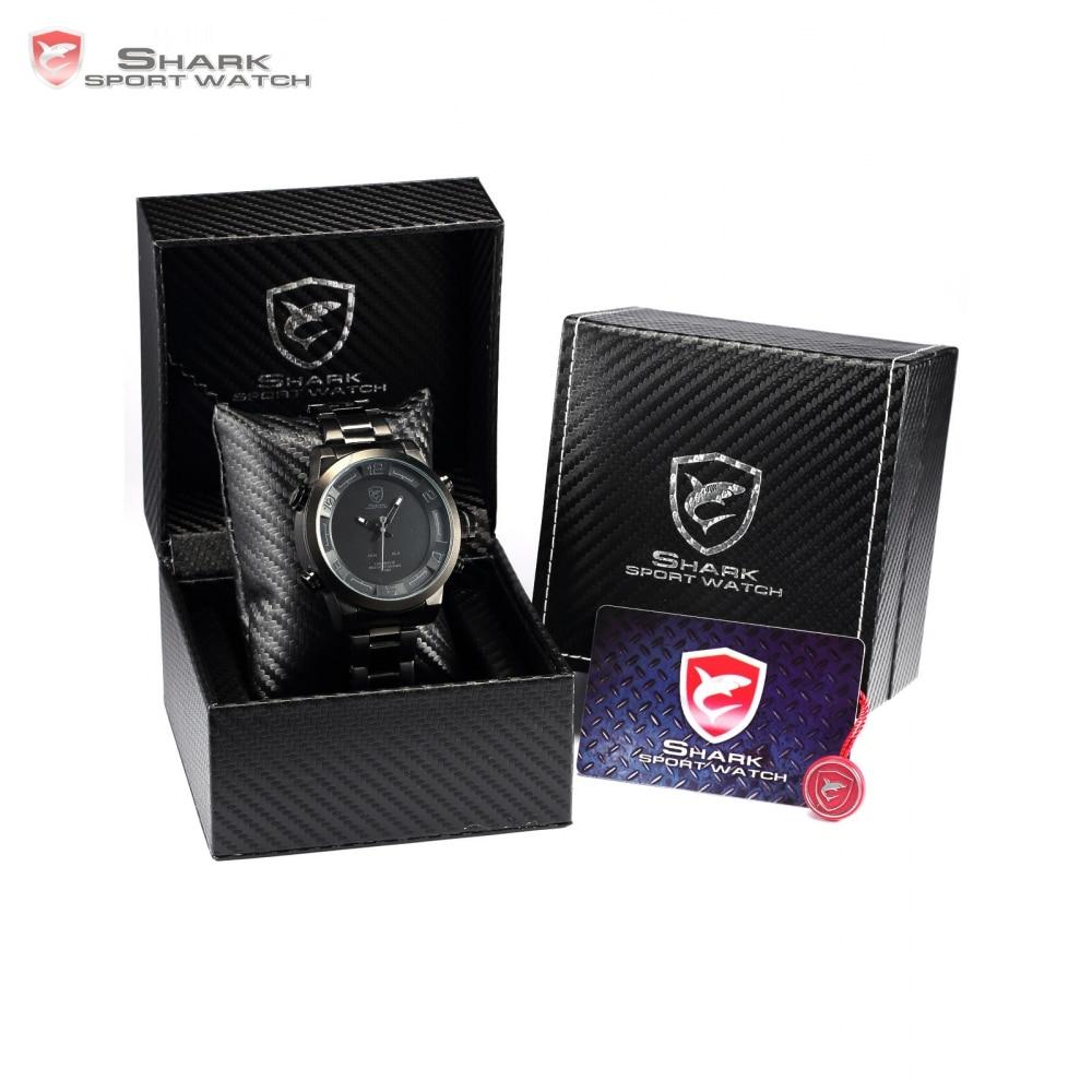 Luxury Leather Package Digital Gulper Shark Sport Watch Waterproof Dual Movement LED Calendar Alarm Quartz Men Watches/SH360-364 цена