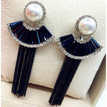 цена на Charmcci Fashion Elegant Luxurious Zircon and Pearl Long Tassel Chain Drop Earrings For Women Party Earrings