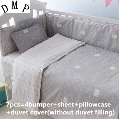 Promotion! 6/7PCS 100% Cotton New Baby Bedding Set Boy Girls Kids Crib Bedding Set , 120*60/120*70cm