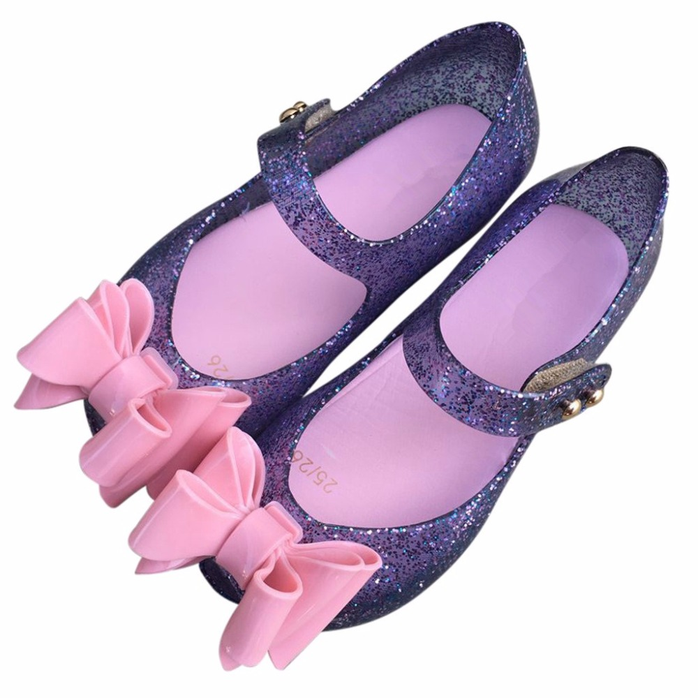 Melissa Girls Jelly Shoes Girls Sandals Large Bow Plastic Child Sandals Beach Sandals Wear-Resistant 13cm-18cm