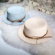Dropshipping nueva llegada estilo británico mujer sombrero de paja moda sombrero  plano playa clásico de las 3c3e3955ab1