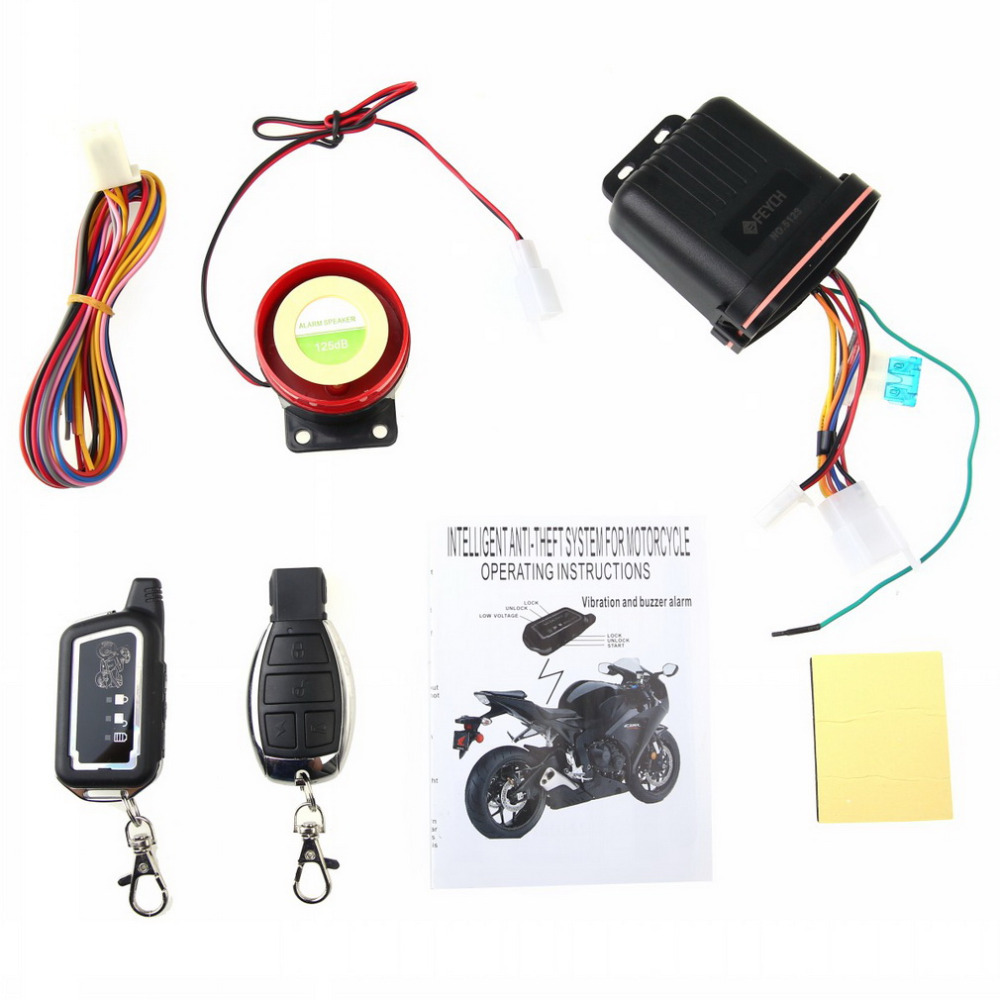imágenes para Nuevo Sistema de Seguridad de Dos Vías de Alarma de La Motocicleta Moto 2 Vías Sensor de Vibración LCD Remoto de Entrada Sin Llave de Alarma Anti-robo Control