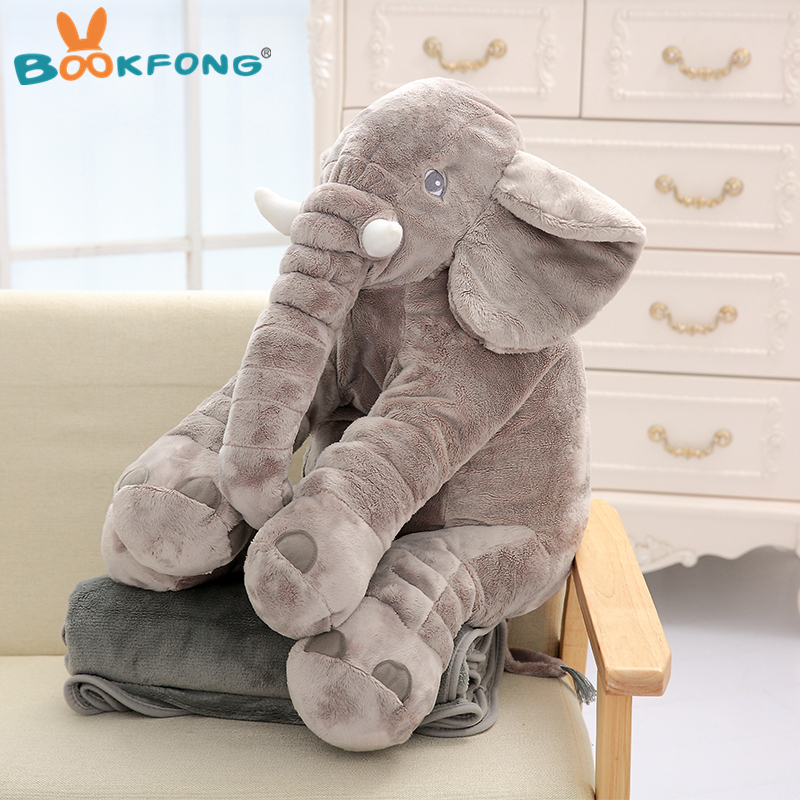 60 cm Elefante Cuscino Giocattolo Della Peluche Molle Farcito Animali Elefante con Coperta 2 in 1 Cuscino Coperta per Bambini Regali di Compleanno