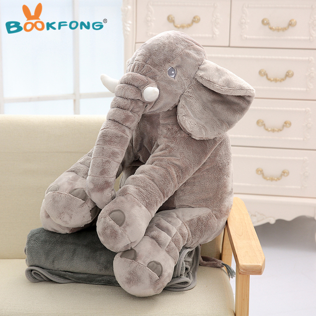 60cm Elephant Pillow Plush Toy Soft Stuffed Animals Elephant with Blanket 2 in 1 Pillow Blanket Kids Birthday Gifts