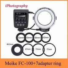 Meike FC 100 FC100 매크로 링 플래시 라이트 니콘 캐논 EOS 650D 600D 60D 7D 550D T4i T3i Nikon D5300 D7000 D5200 D90 등