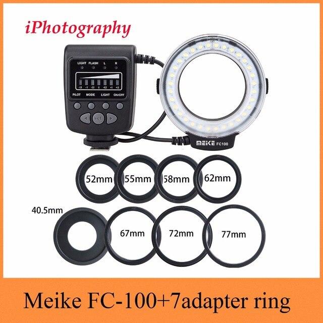 Meike FC 100 FC100 Macro Ring Flash Light per Nikon Canon EOS 650D 600D 60D 7D 550D T4i T3i per Nikon d5300 D7000 D5200 D90 ecc