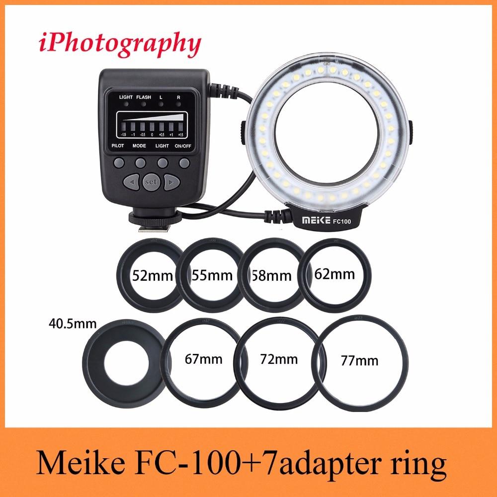 Meike FC-100 FC100 Macro Ring Flash Light pour Nikon Canon EOS 650D 600D 60D 7D 550D T4i T3i pour Nikon d5300 D7000 D5200 D90 etc