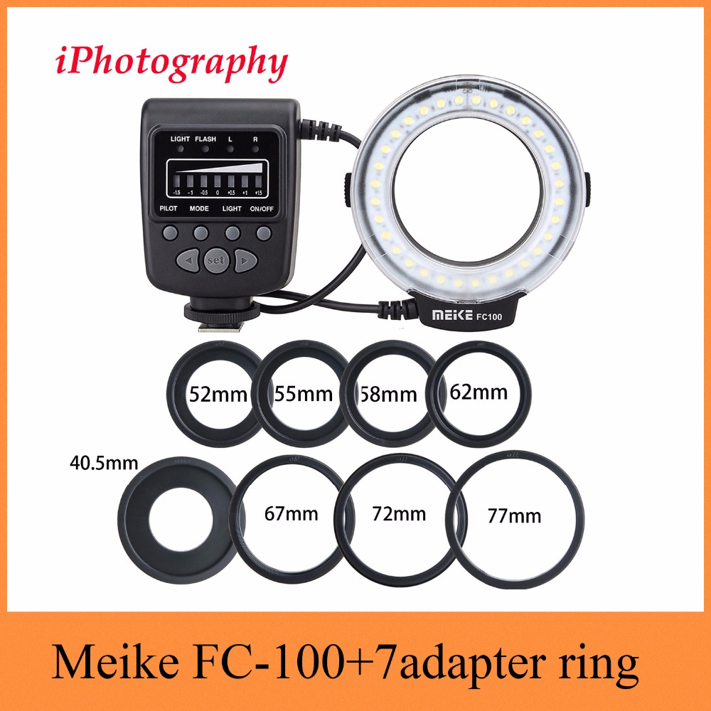 Meike FC-100 FC100 Macro anillo de luz de Flash para Nikon Canon EOS 650D 600D 60D 7D 550D T4i T3i para Nikon d5300 D7000 D5200 D90 etc