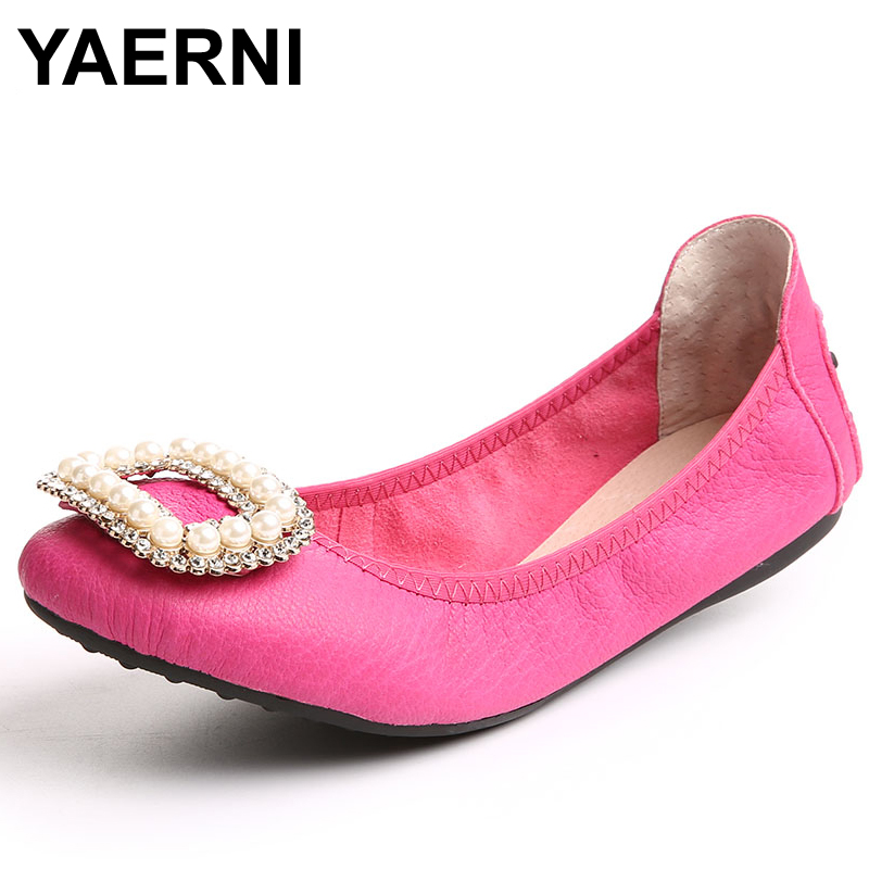 YAERNI Plus Size Ballet Shoes Flats For Women Shoes Fold Up Real Leather Ballet Shoes Top Quality Genuine Leather Shoes For Wome