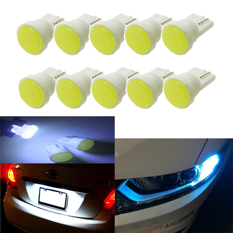WMMWMD 10pcs Ceramic Interior LED T10 COB W5W 168 Wedge Door Instrument Side Bulb