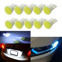 10 шт. керамические автомобильные Внутренние светодиодные лампы T10 COB W5W 168 клиновидная дверная приборная боковая лампа, автомобильные лампы белого/синего/зеленого/Красного/желтого цвета