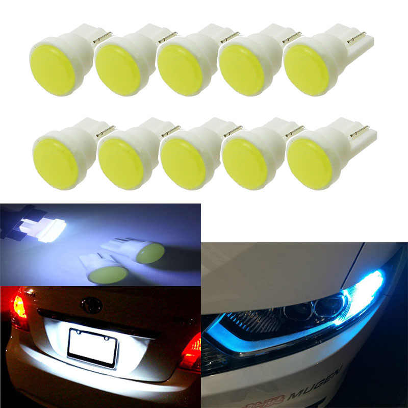 10pcs Ceramic Car Interior LED T10 COB W5W 168 Wedge Door Instrument Side Bulb Lamp Car Light White/Blue/Green/Red/Yellow Source