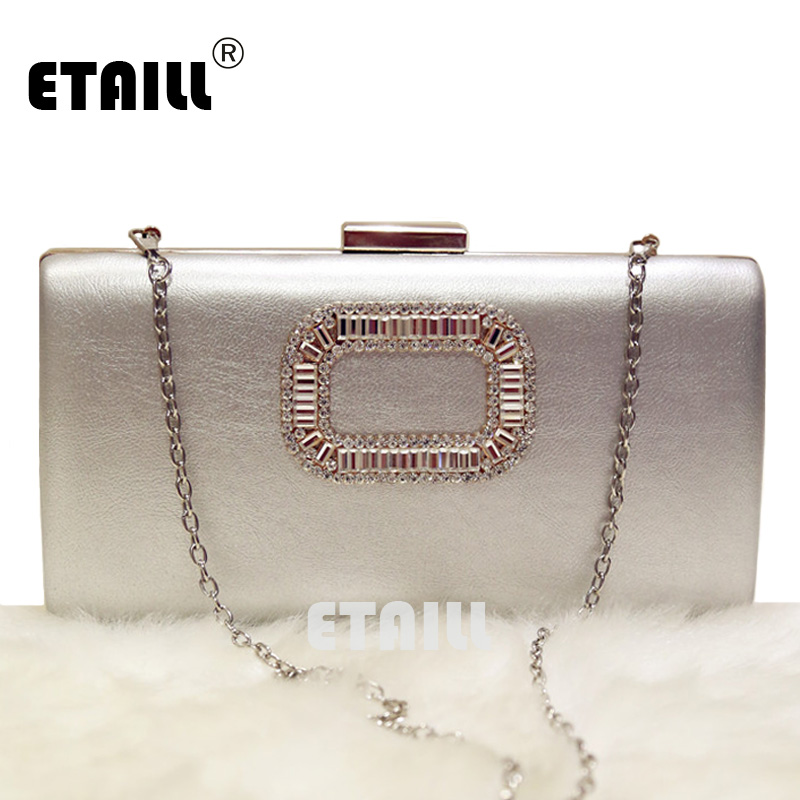 ETAILL Simple Evening Bag Women Diamond Rhinestone Clutch Crystal Chain Shoulder Small Purse Wedding Party Bags