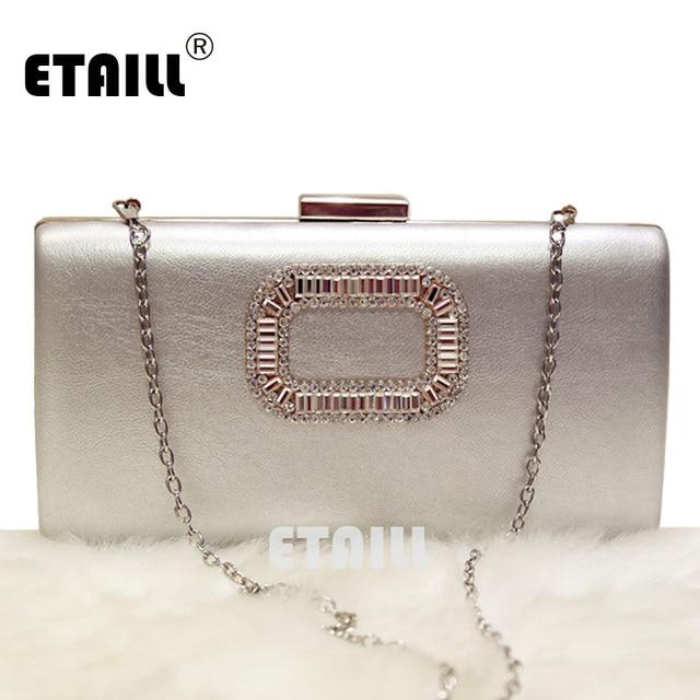 c5c4a4567cc8 ETAILL Simple Evening Bag Women Diamond Rhinestone Clutch Crystal Chain  Shoulder Small Purse Wedding Purse Party