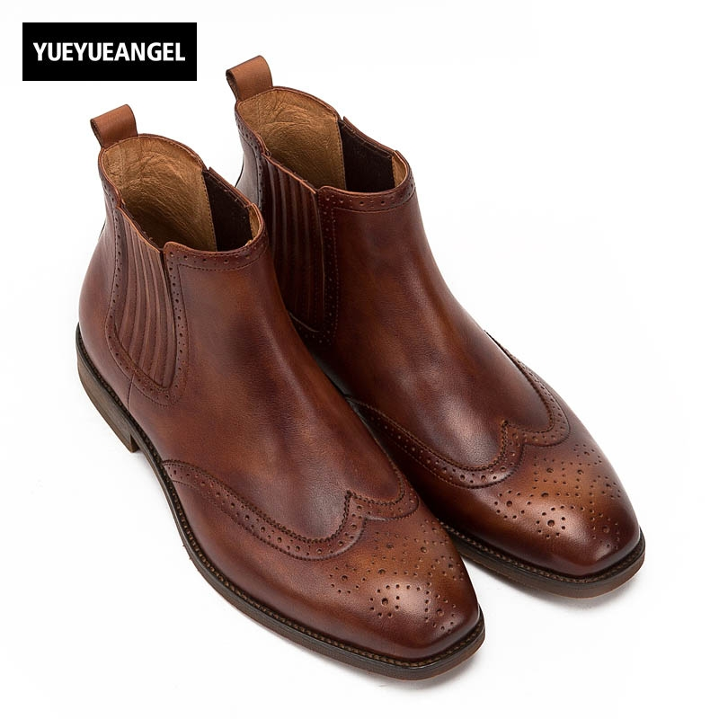 2017 Vintage New Arrival Fashion Men Chelsea Boots Autumn Low Heel Genuine Leather Cow Slip On Male Breathable Wing Tip Brown цены онлайн