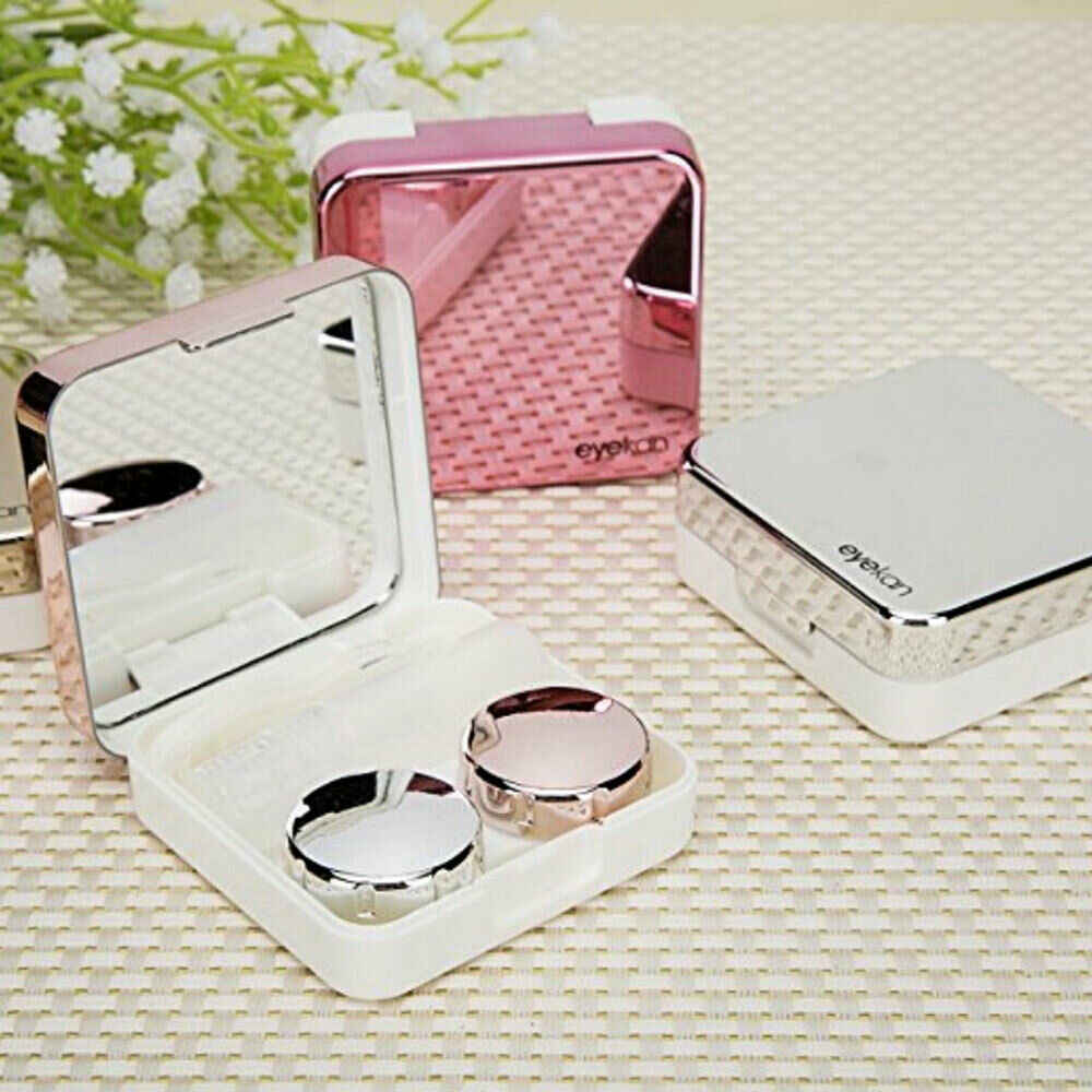2019 Cover contact lens case with mirror color contact lenses case Container cute Lovely Travel kit box Women