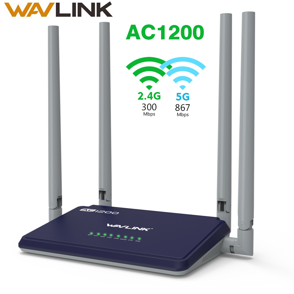 Wavlink Wifi Router AC1200 Trådlös Access Point 5Ghz + 2,4 GHz Dual Band Smart Router Long Range Extender med 4x5dBi antenn WPS