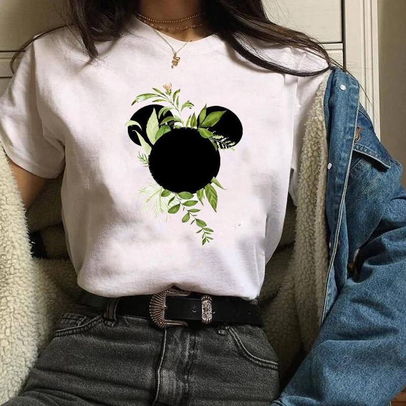 Cute Fashion T Shirt Graphic Leaf Graphic Animal T-Shirt Women Cute Fashion Tees Print Pritned Funny Female Ladies  LadiesTee
