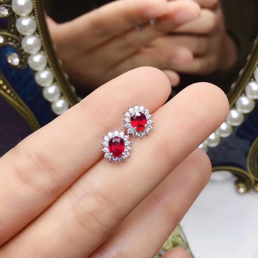red ruby gemstone stud earrings for women