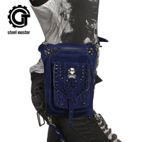Vintage Steampunk Skull Bags Retro Rock Rivets Waist Bag Men Women Gothic Shoulder Bag Blue Motorcycle