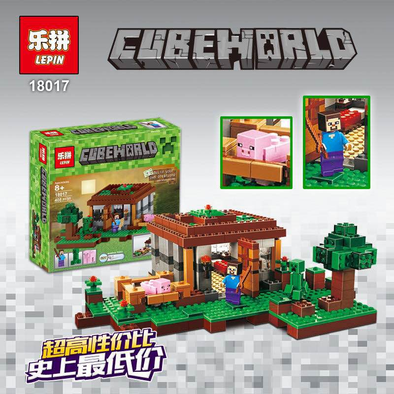 408pcs Lepin 18017 Minecraft My World The First Night Castle Building Block Compatible 21115 Brick Toys for children lepin minecraft 504pcs the forest secret my world figures building blocks bricks fun castle house toys for children gifts